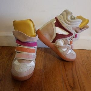 Isabel Marant leather and suede wedge sneakers